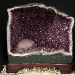 Amethyst fireplace on wooden stand All Specialty Items amethyst