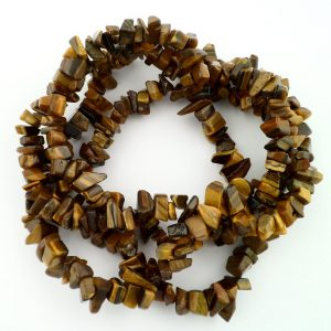 Tiger Eye, Gold Chip Bead Necklace All Crystal Jewelry chip beads