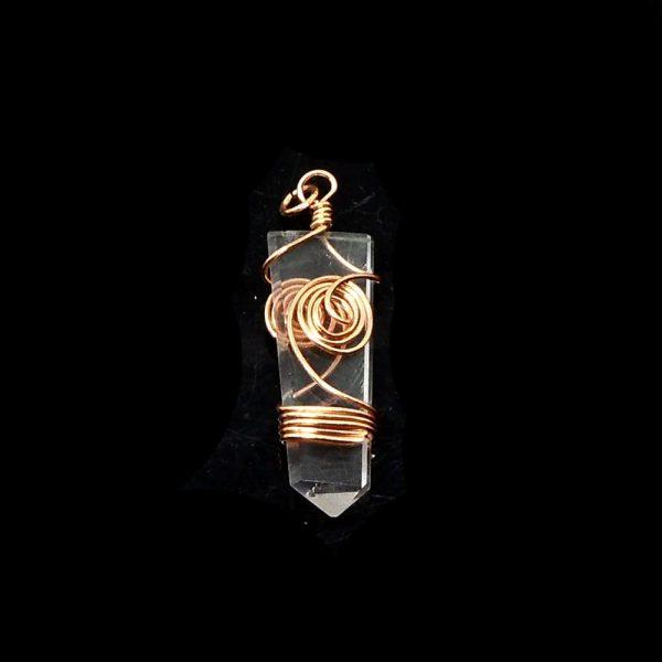 Quartz & Copper Pendant All Crystal Jewelry clear quartz