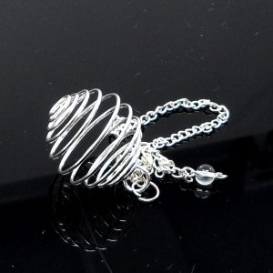 Wire Cage Silver Rounded with Chain All Crystal Jewelry cage