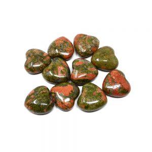 Unakite Hearts bag of 10 All Polished Crystals bulk crystal hearts