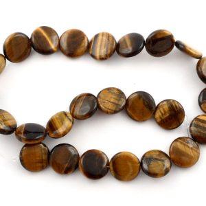 Tiger Eye Flat Round Bead Strand All Crystal Jewelry bead