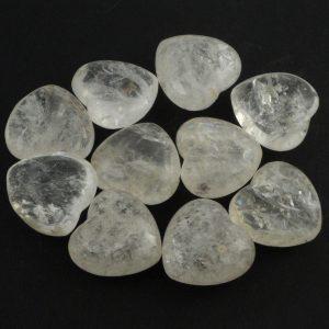 Clear Quartz Hearts bag of 10 All Polished Crystals bulk crystal hearts