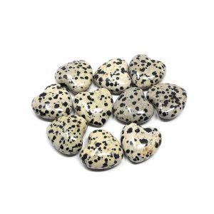 Dalmatian Jasper Hearts bag of 10 All Polished Crystals bulk jasper hearts