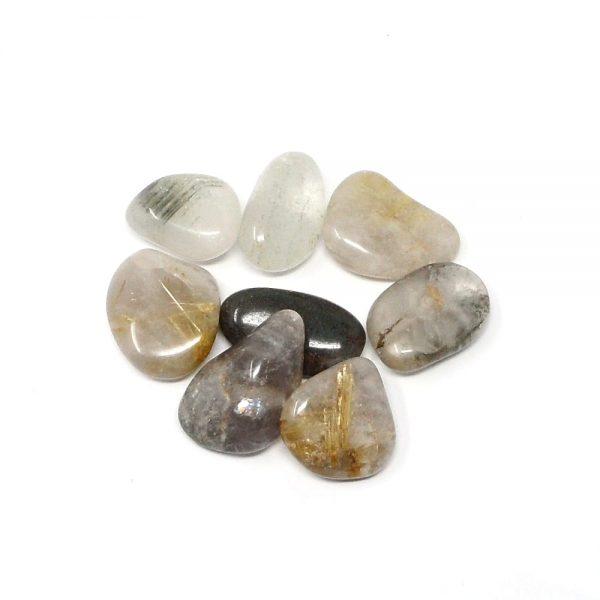 Rutilated Quartz md tumbled 4oz All Tumbled Stones chlorite quartz