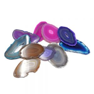 Agate Slabs, Mixed, pack of 10 size 0 drilled Agate Products agate