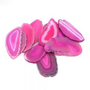 Agate Slabs, Pink, pack of 10 size 1 drilled Agate Products agate