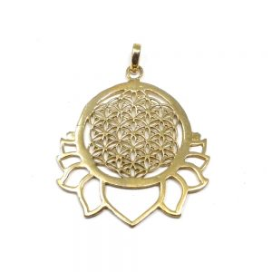 Brass Flower of Life Pendant All Crystal Jewelry brass